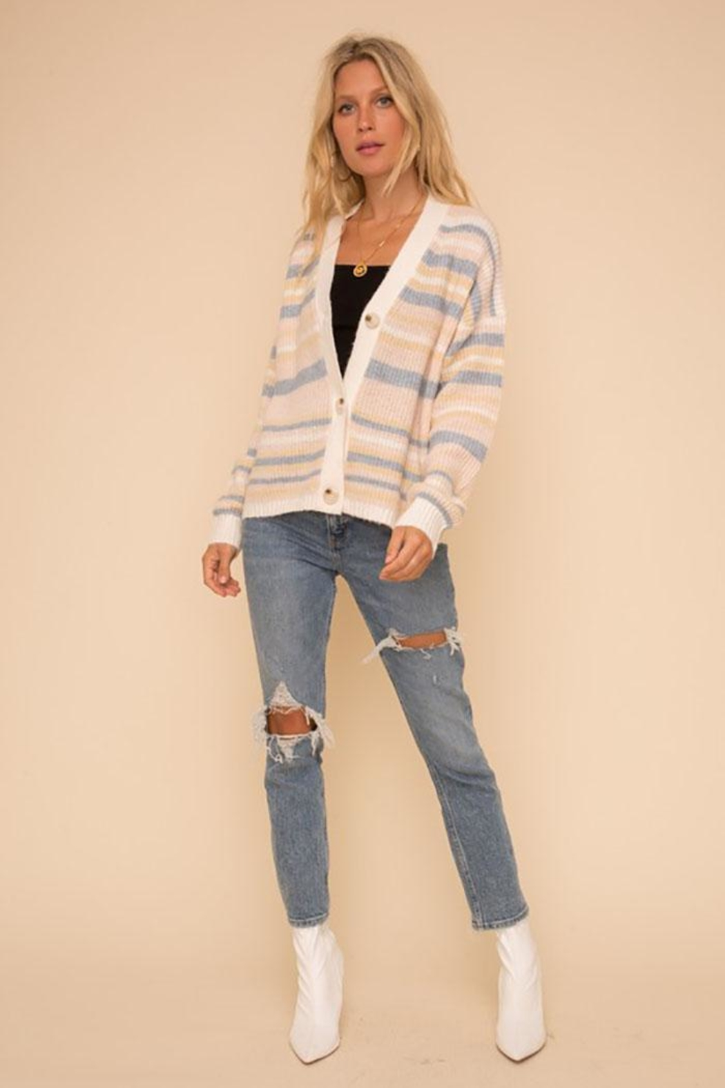 Hem & Thread Super Soft And Cozy Color Striped Sweater Cardigan - Front Full Image