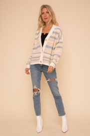Hem & Thread Super Soft And Cozy Color Striped Sweater Cardigan - Front full body