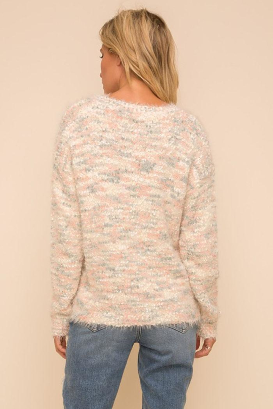 Hem & Thread Super Soft And Cozy Multi Color Knit Pullover Sweater - Side Cropped Image
