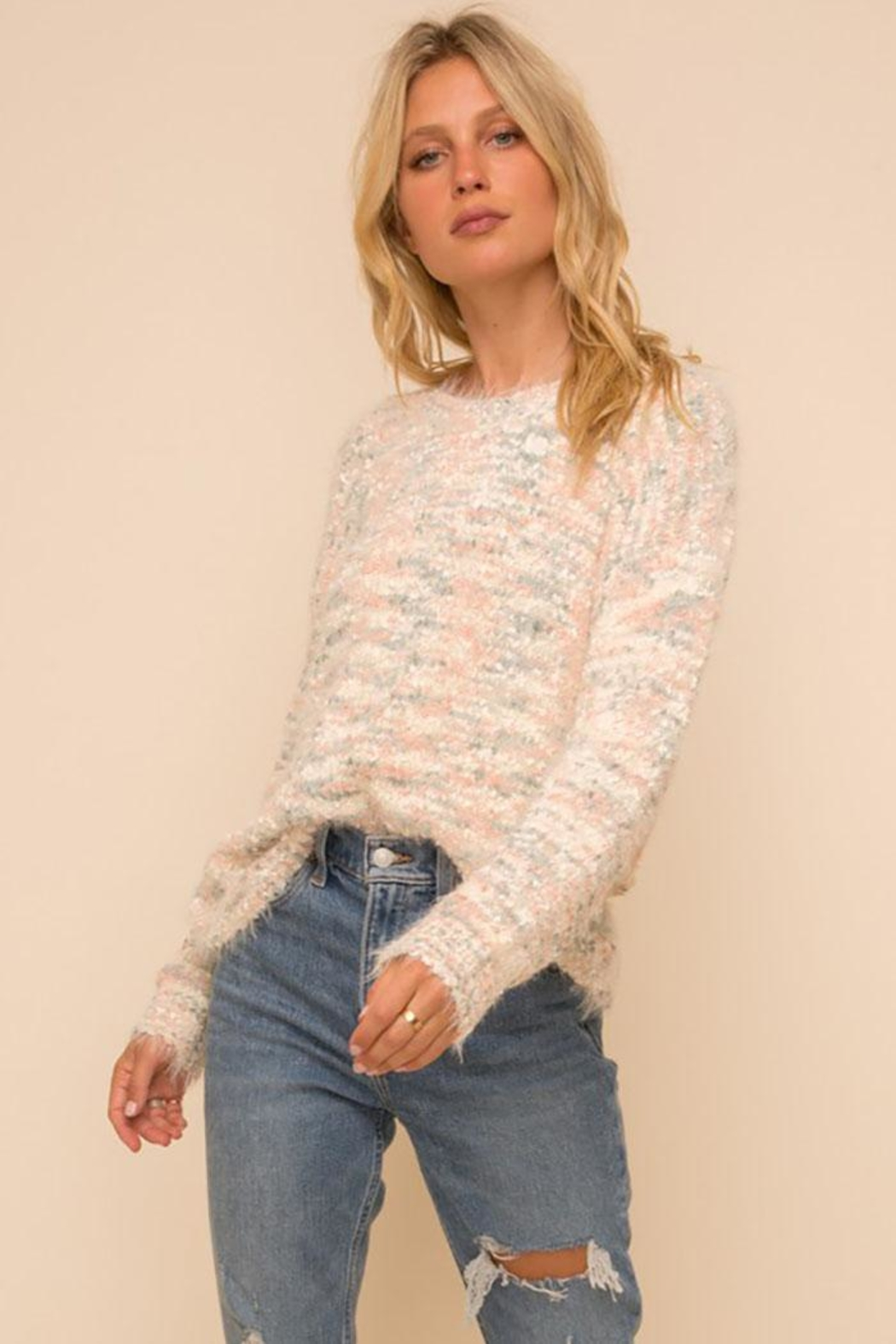 Hem & Thread Super Soft And Cozy Multi Color Knit Pullover Sweater - Main Image