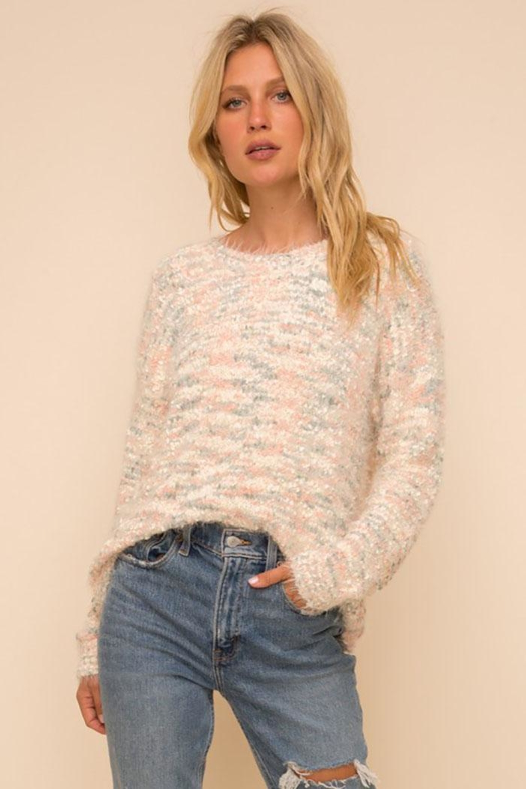 Hem & Thread Super Soft And Cozy Multi Color Knit Pullover Sweater - Front Full Image