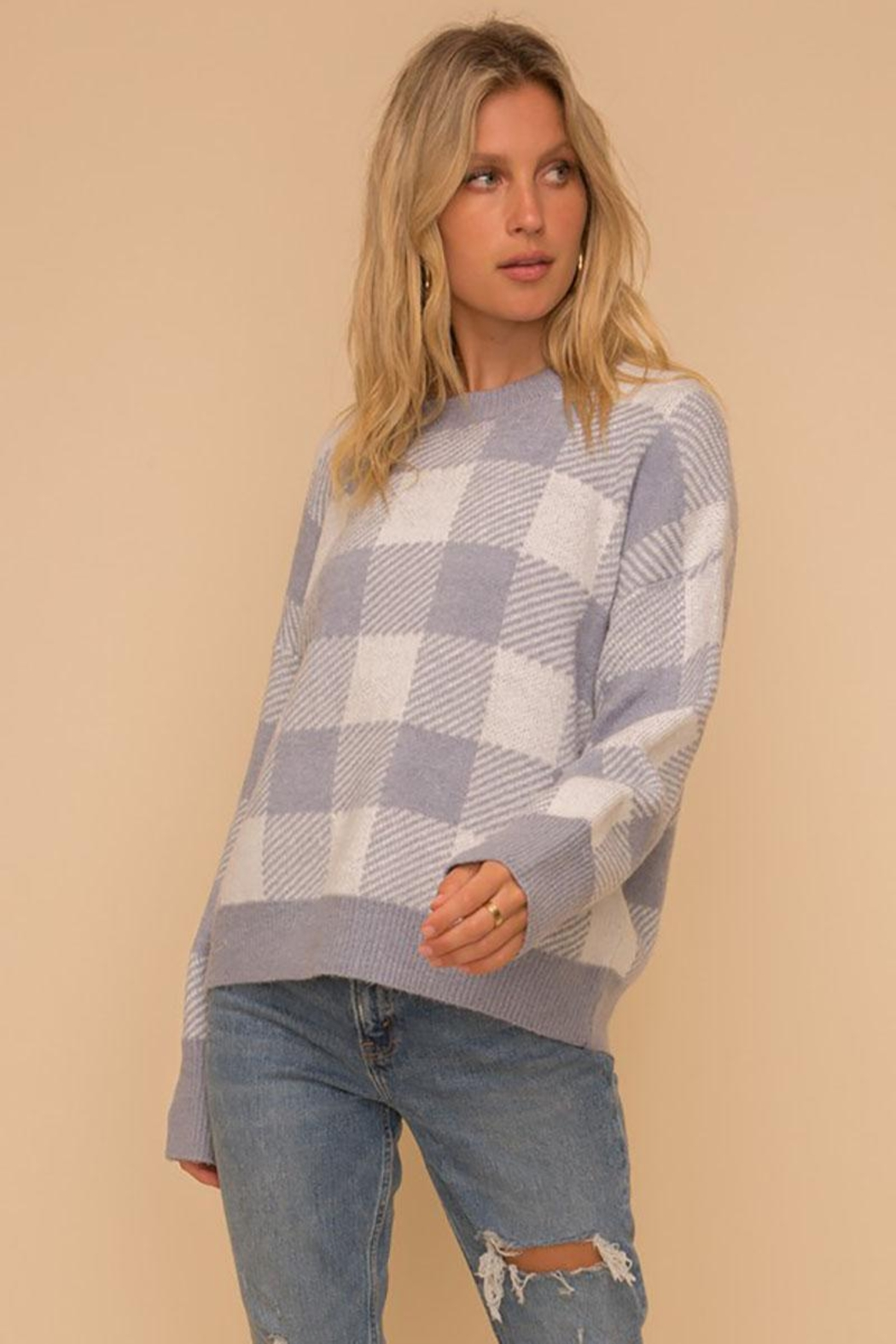 Hem & Thread Super Soft Checkered Plaid Pullover Sweater Top - Front Full Image