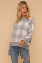 Hem & Thread Super Soft Checkered Plaid Pullover Sweater Top - Front full body