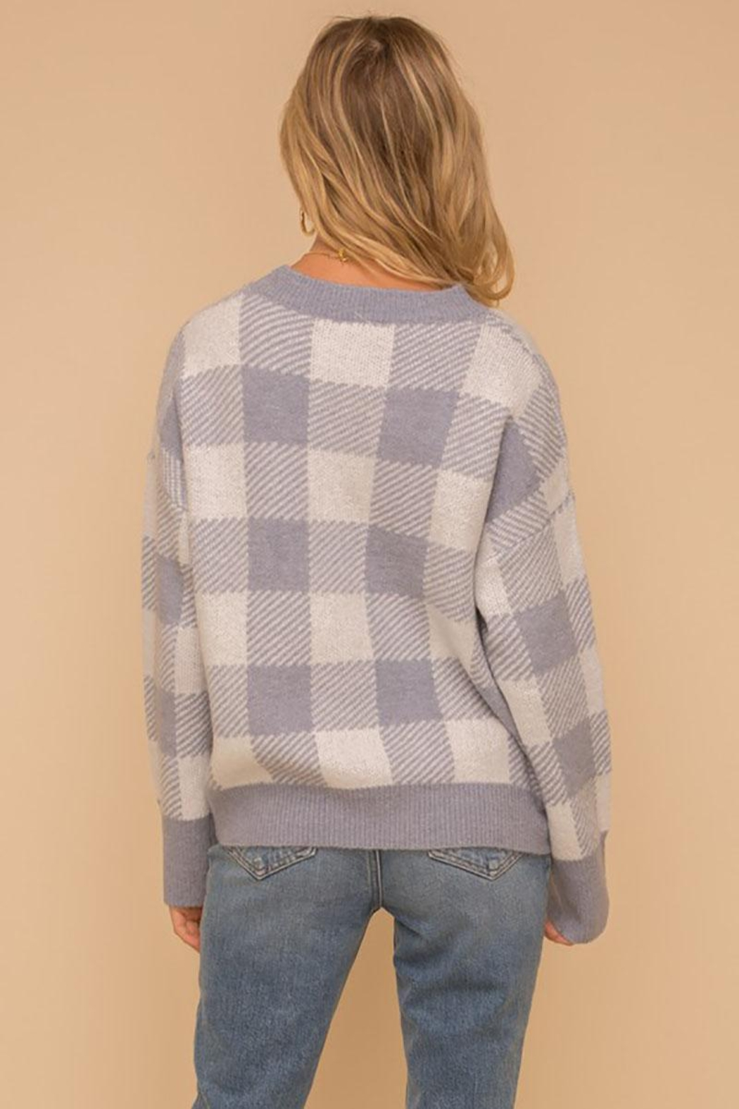 Hem & Thread Super Soft Checkered Plaid Pullover Sweater Top - Side Cropped Image