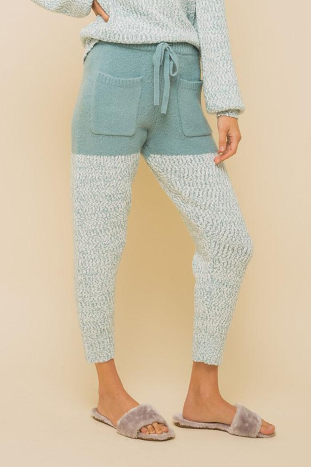 Hem & Thread Super Soft Colorblock Cozy Pants - Front Cropped Image