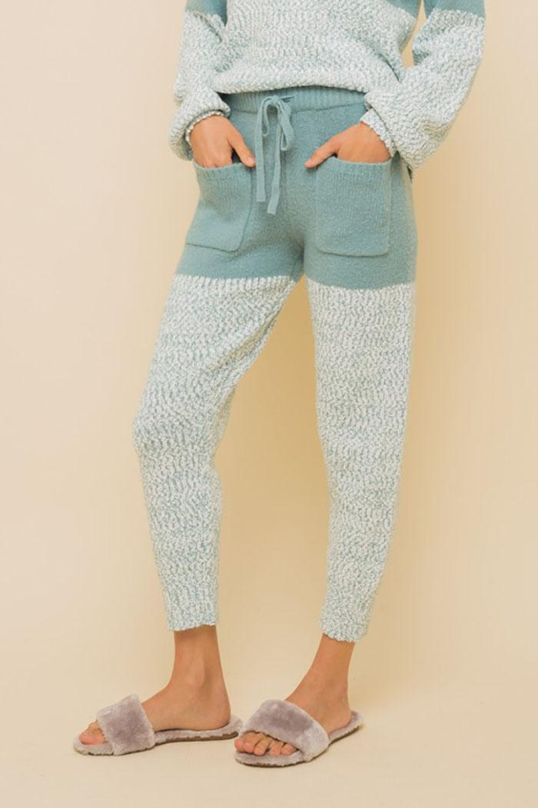 Hem & Thread Super Soft Colorblock Cozy Pants - Front Full Image