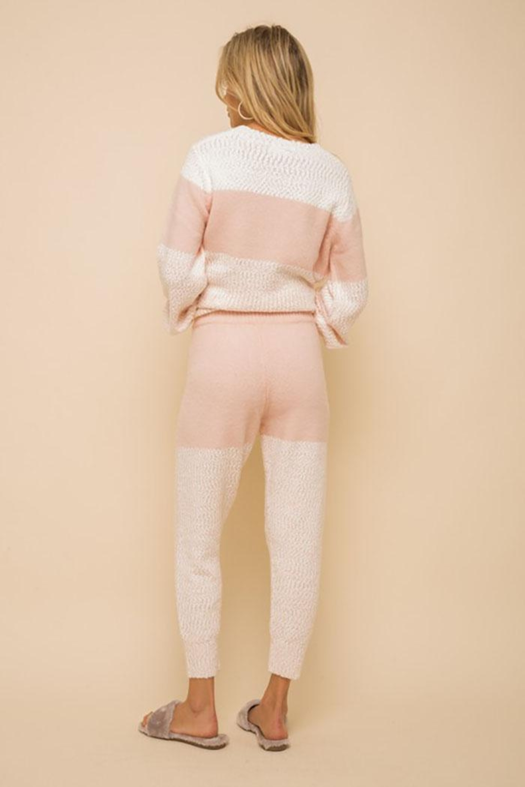 Hem & Thread Super Soft Colorblock Cozy Pants - Back Cropped Image