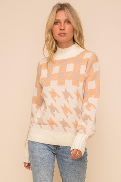 Hem & Thread Super Soft Houndstooth And Checkered Plaid Mock Neck Turtleneck Knit Pullover Sweater - Product List Image