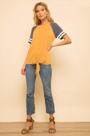 Hem & Thread Tie-Front Mustard-Blue Baseball-Tee - Product Mini Image