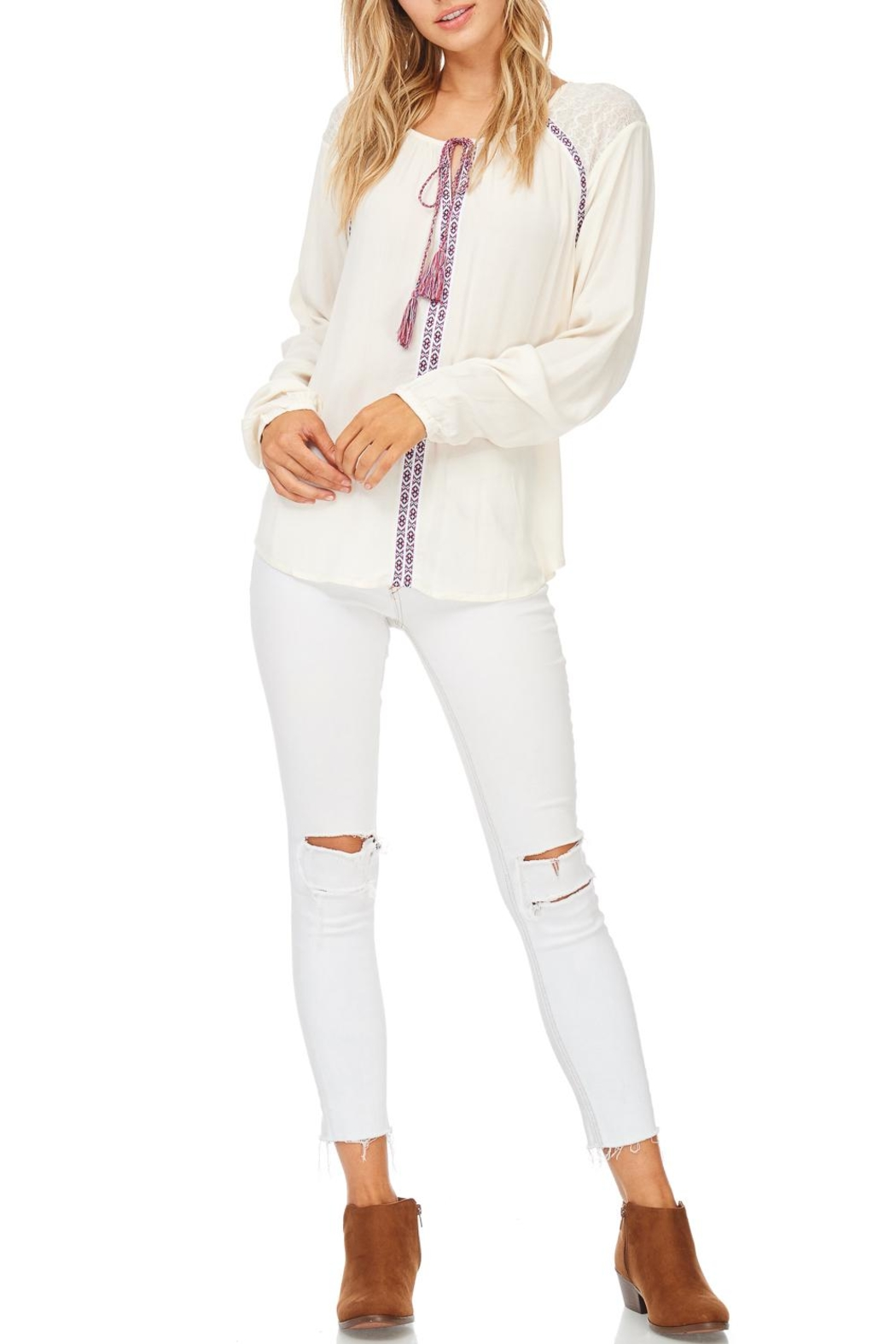 Hem & Thread Tie Peasant Long Sleeve Top - Main Image