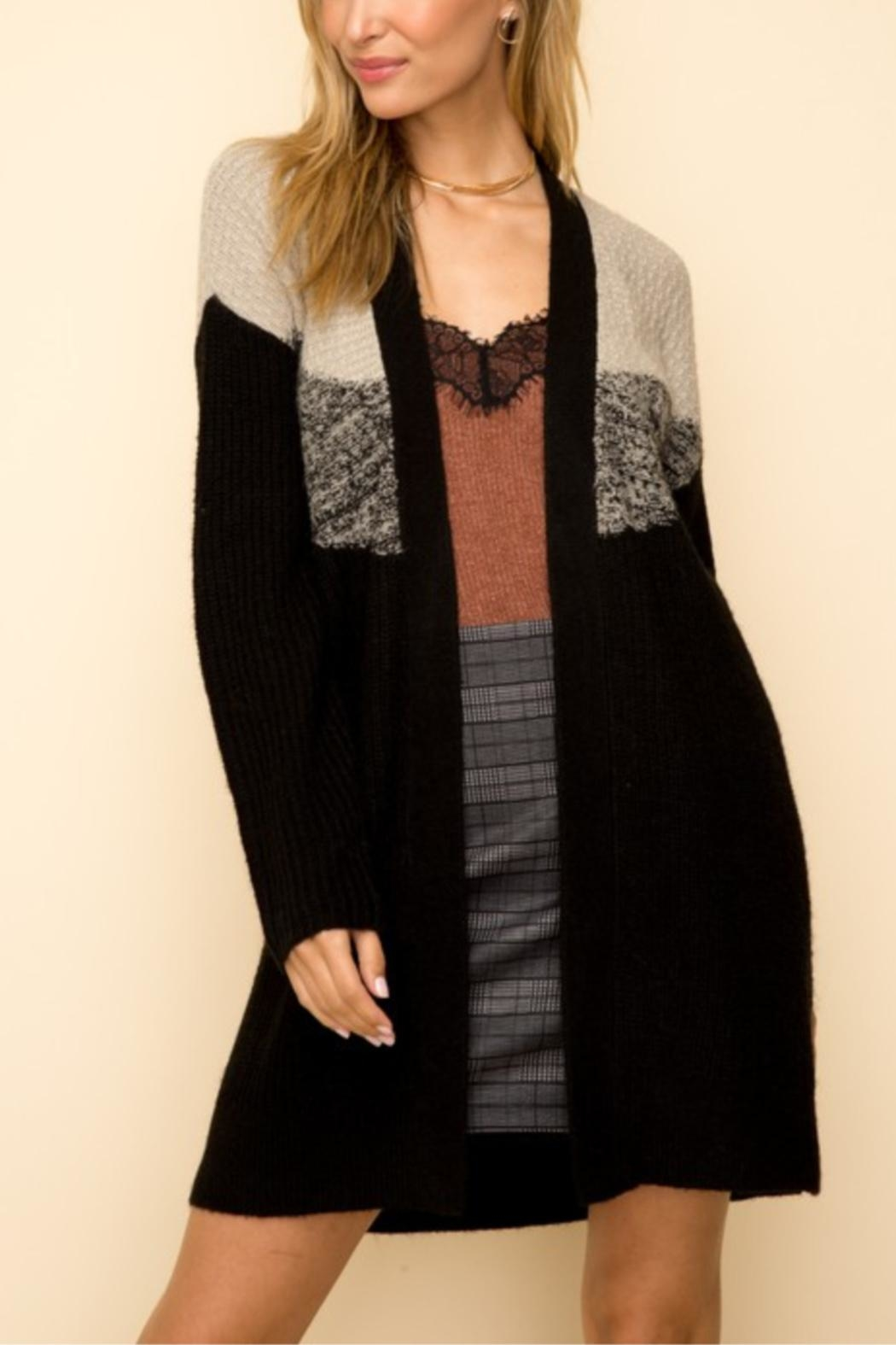 Hem & Thread Two Tone Cardigan - Front Cropped Image