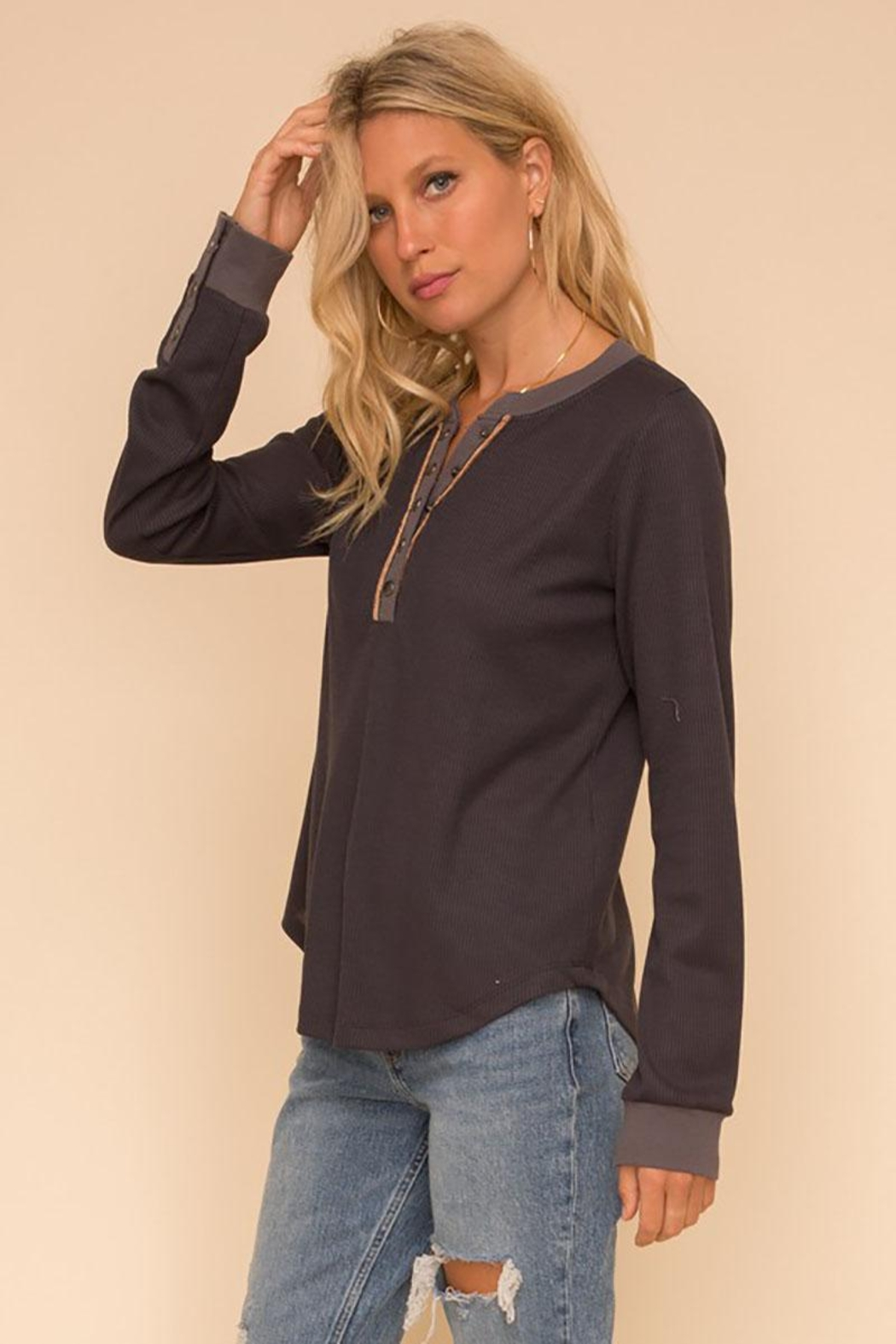 Hem & Thread Unique Snap Closure Ribbed Henley Tunic Top - Front Full Image