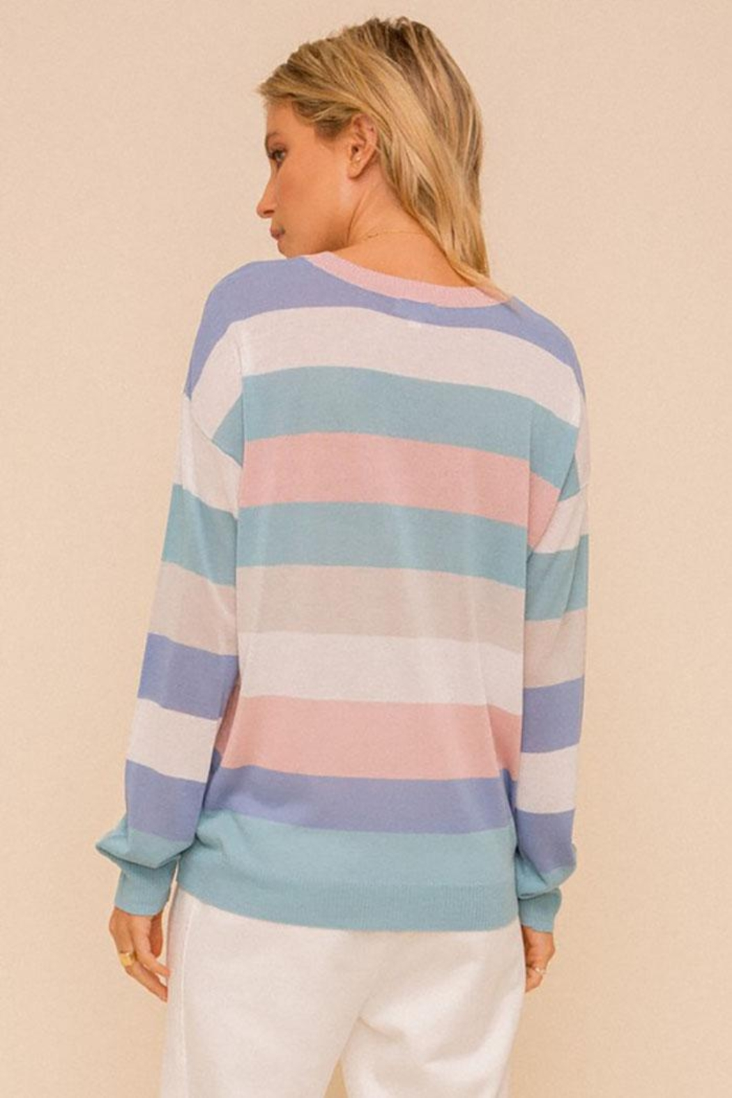 Hem & Thread Colorblock Pastel Lightweight Pullover Sweater Top - Back Cropped Image