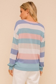 Hem & Thread Colorblock Pastel Lightweight Pullover Sweater Top - Back cropped