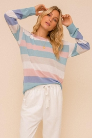Hem & Thread Colorblock Pastel Lightweight Pullover Sweater Top - Product Mini Image