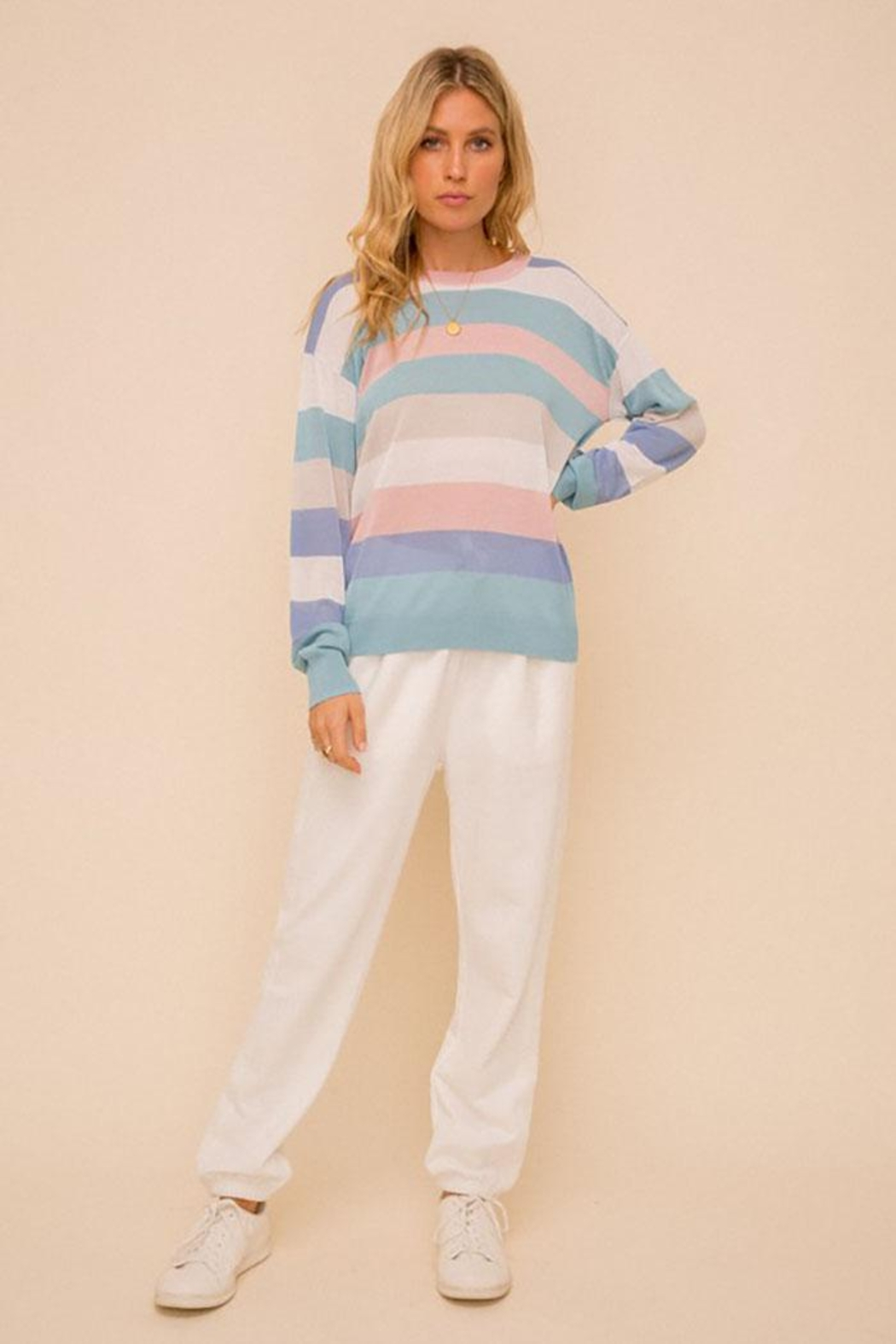 Hem & Thread Colorblock Pastel Lightweight Pullover Sweater Top - Side Cropped Image