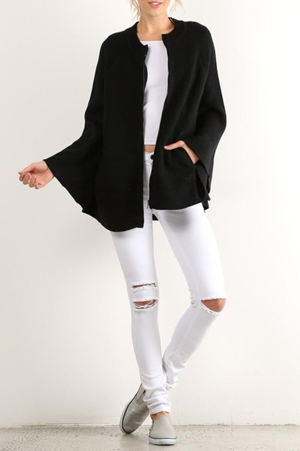 Hem & Thread Zip Sweater Cape - Front Cropped Image