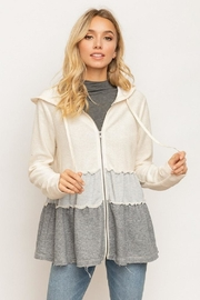 Hem & Thread Zip-Up Ruffled-Layer Hoodie - Front cropped