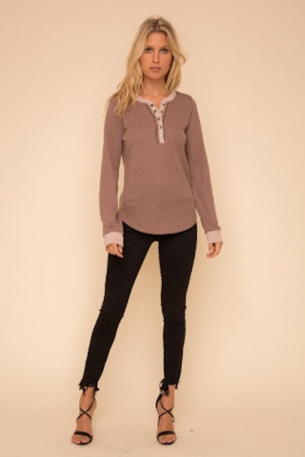 Hem and Thread Color Mix Henley - Main Image