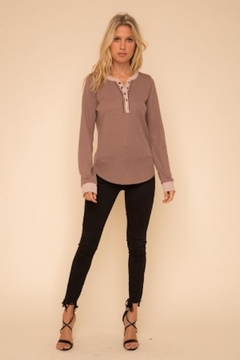 Hem and Thread Color Mix Henley - Product List Image