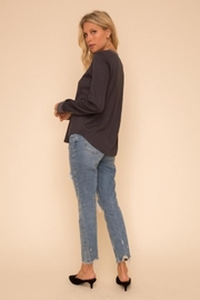Hem and Thread Color Mix Henley - Front full body