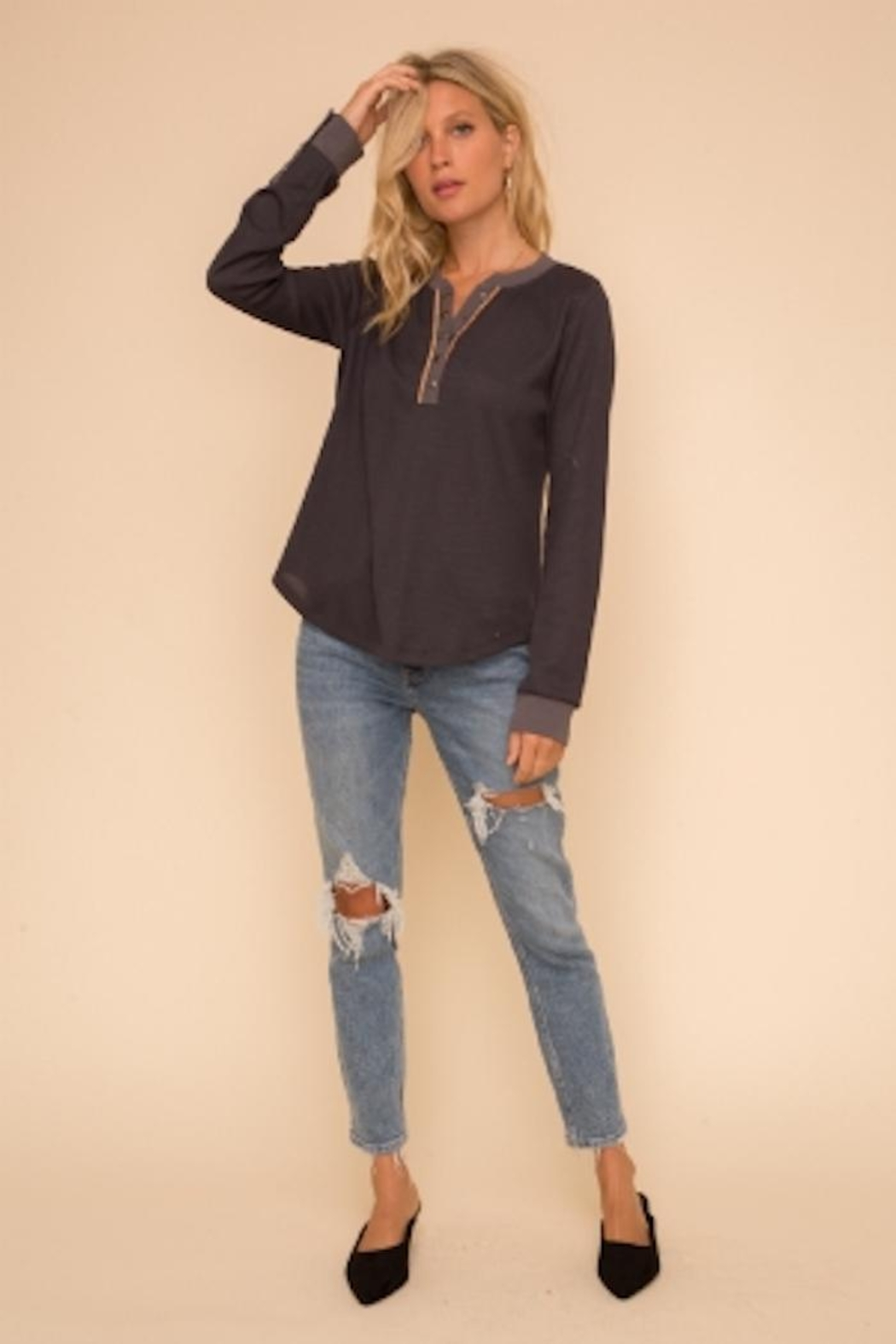 Hem and Thread Color Mix Henley - Front Cropped Image