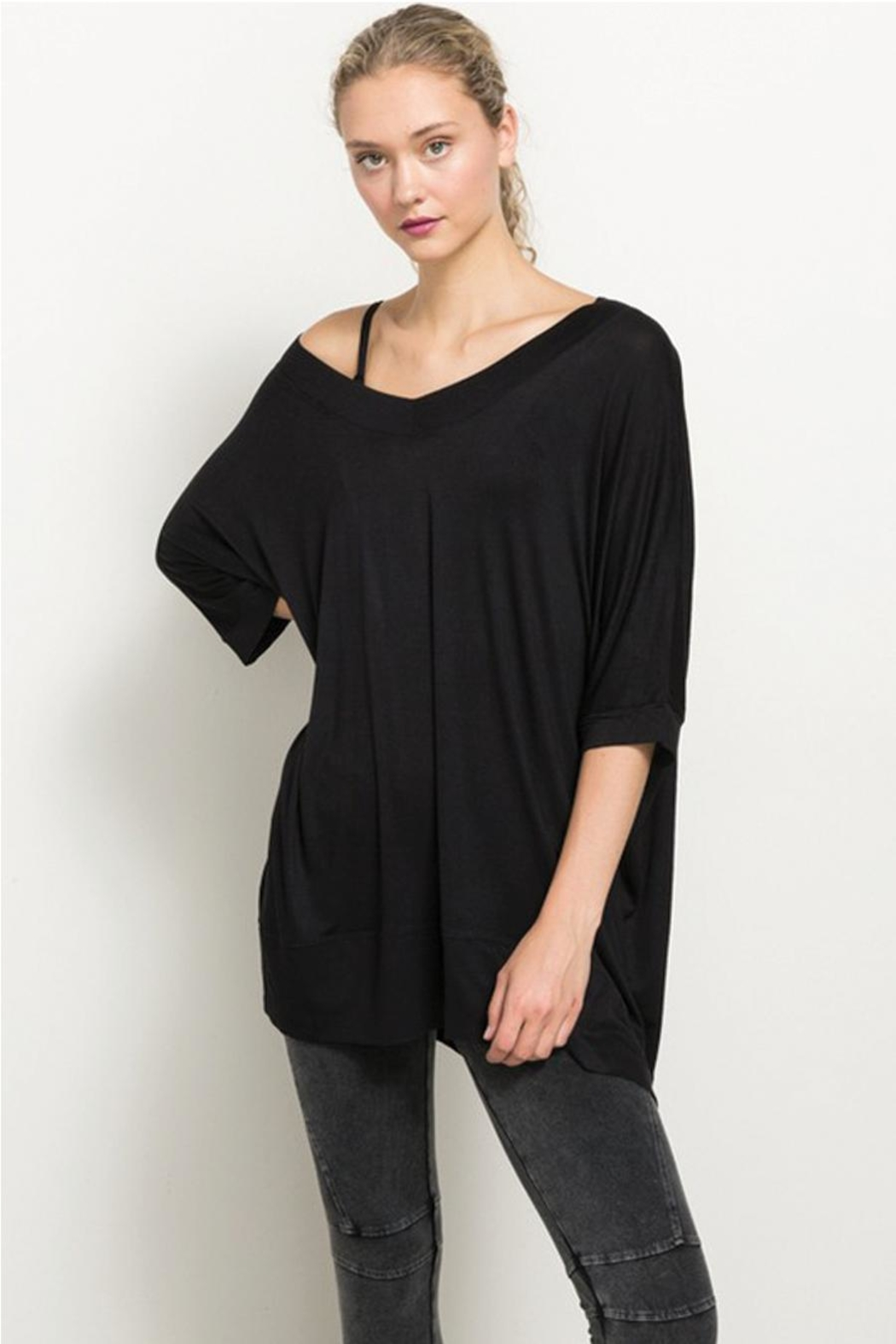 Hem and Thread Off The Shoulder High Low Hem Top - Main Image