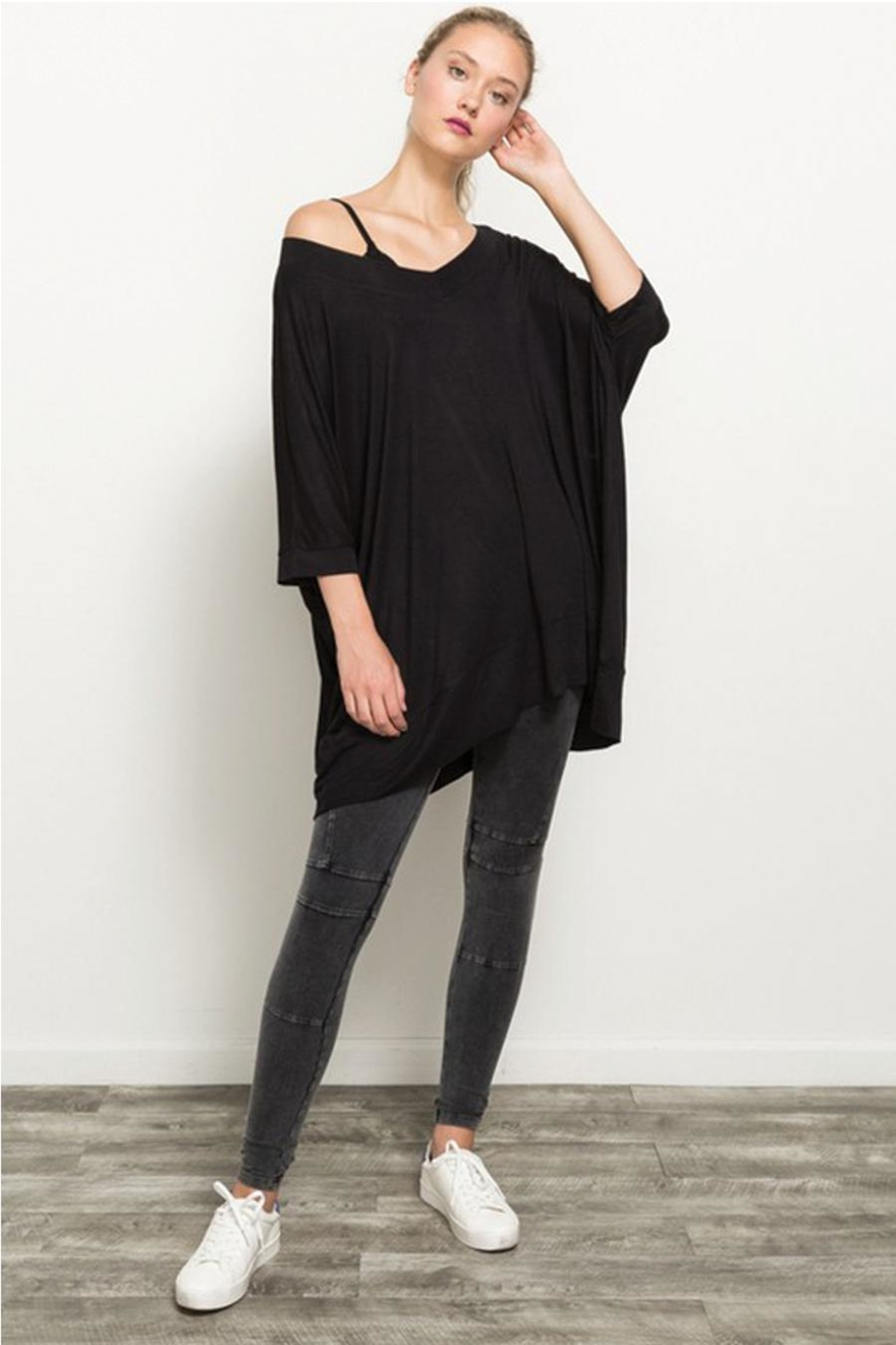 Hem and Thread Off The Shoulder High Low Hem Top - Front Full Image