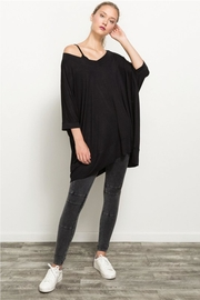 Hem and Thread Off The Shoulder High Low Hem Top - Front full body