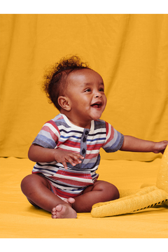 Tea Collection  Henley Pocket Baby Romper - Earth Red - Product List Image