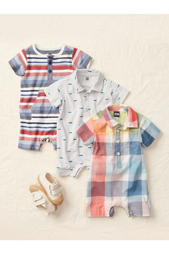 Tea Collection  Henley Pocket Baby Romper - Earth Red - Alternate List Image