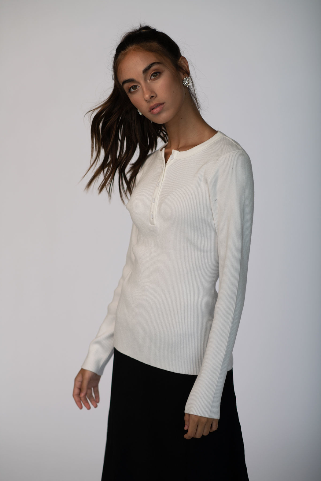 Meli by FAME HENLEY RIBBED SWEATER - Front Cropped Image