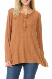 Cubism Henley Ribbed Top - Product Mini Image