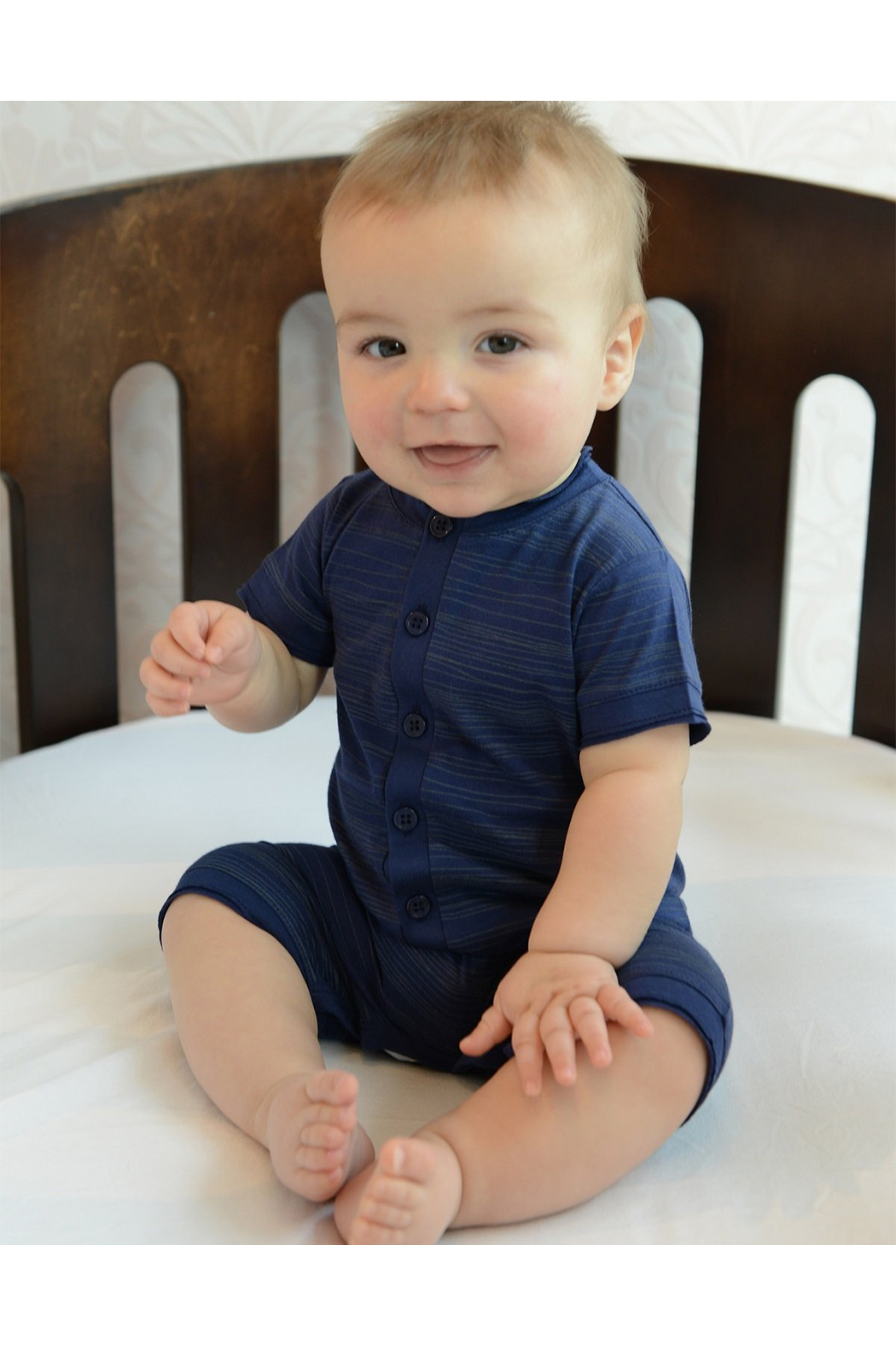 Feather Baby Henley Romper - Front Full Image