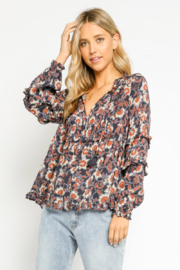 Olivaceous  Henna Floral Ruffled Blouse - Product Mini Image