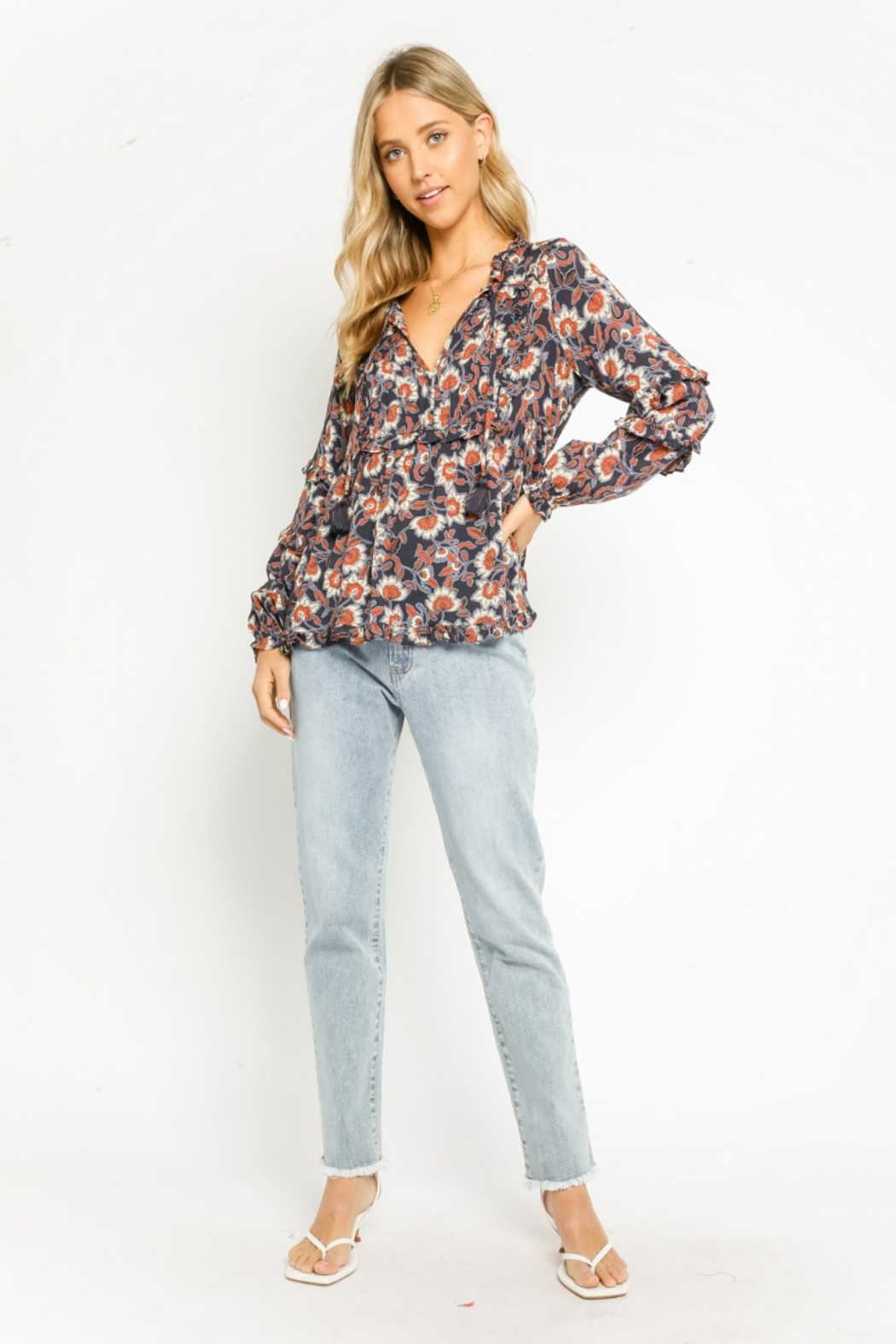Olivaceous  Henna Floral Ruffled Blouse - Side Cropped Image