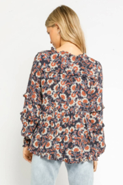 Olivaceous  Henna Floral Ruffled Blouse - Front full body