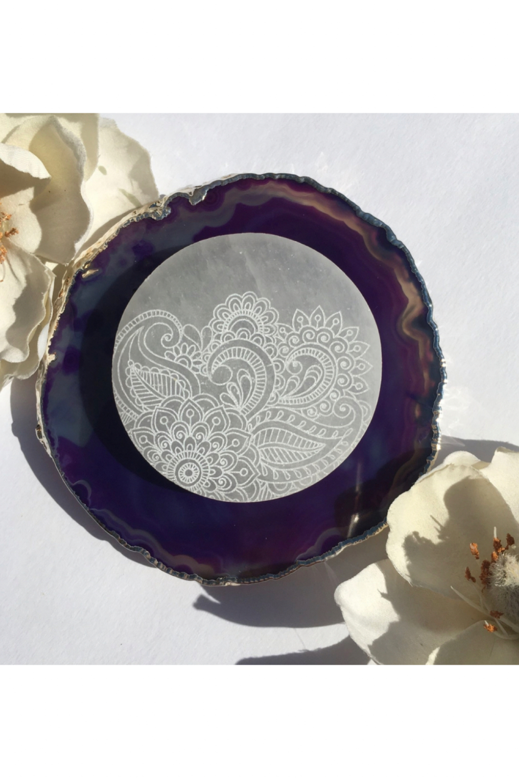 "Fractalista Designs ""Henna Prayer"" Selenite Charging Disc - Front Cropped Image"