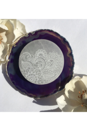 "Fractalista Designs ""Henna Prayer"" Selenite Charging Disc - Front cropped"