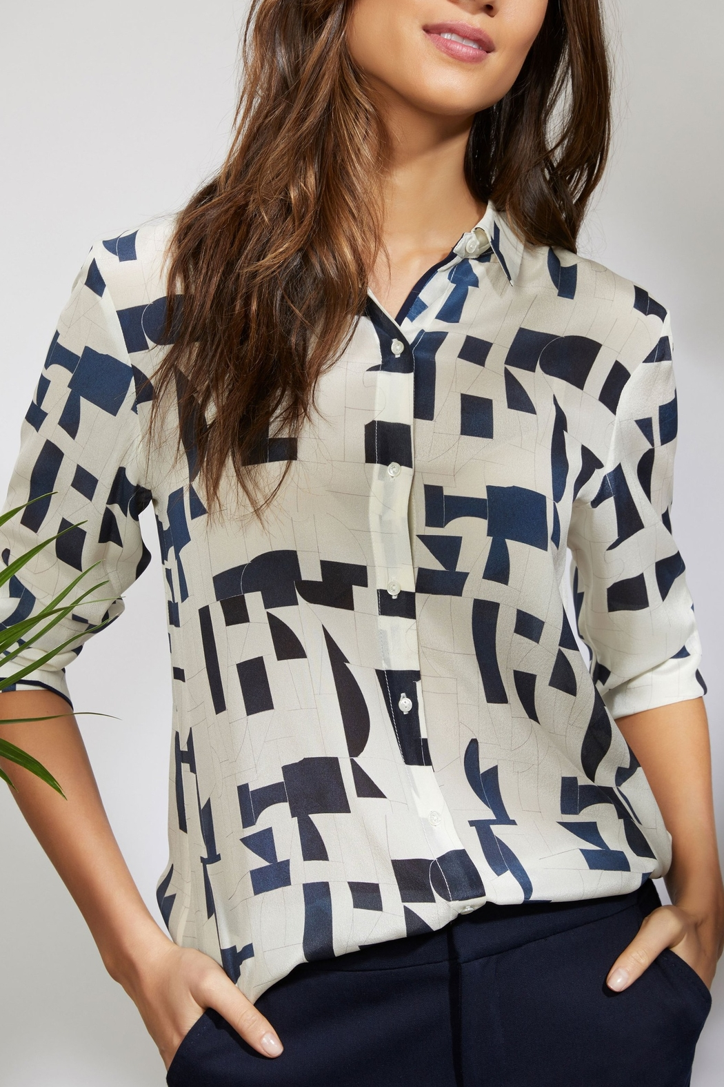 Ecru Hepburn Shirt Abstract - Front Cropped Image