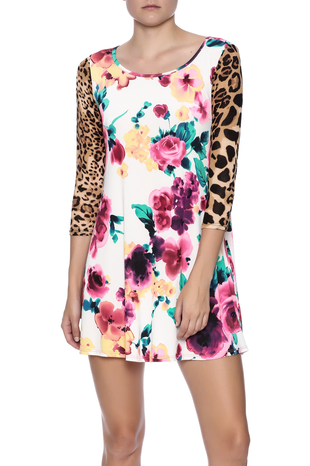 Her She Leopard Rainforest Dress - Front Cropped Image