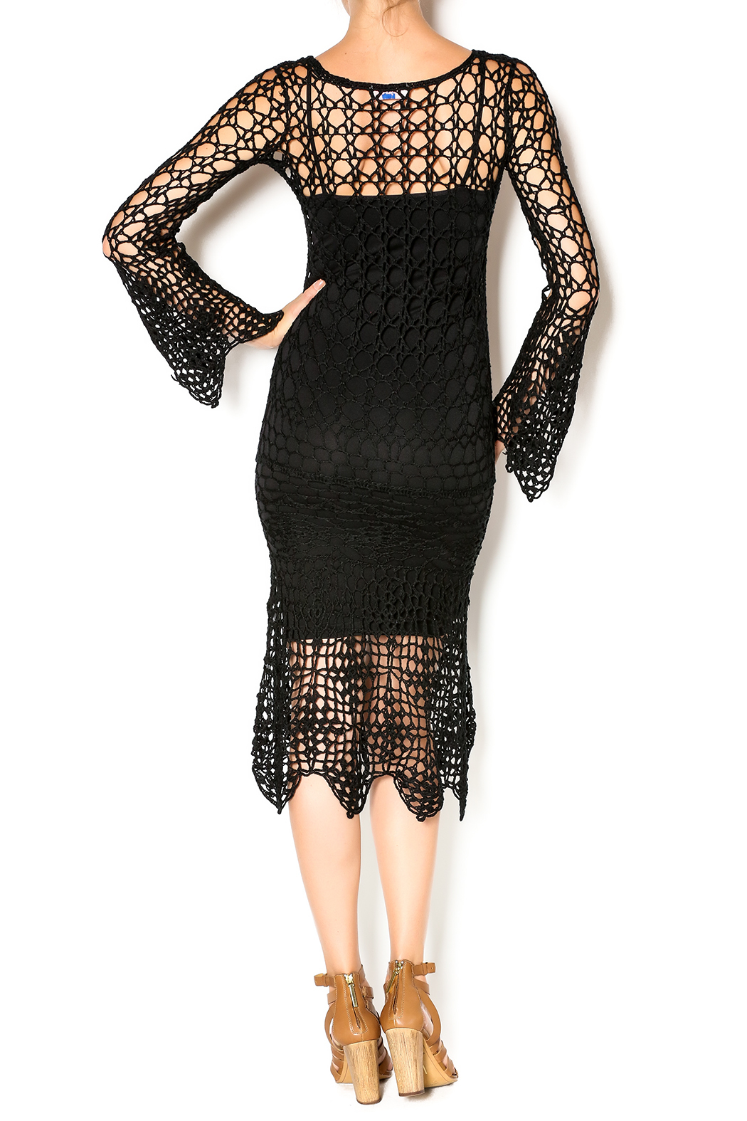 Hera Midnight Crochet Dress - Back Cropped Image