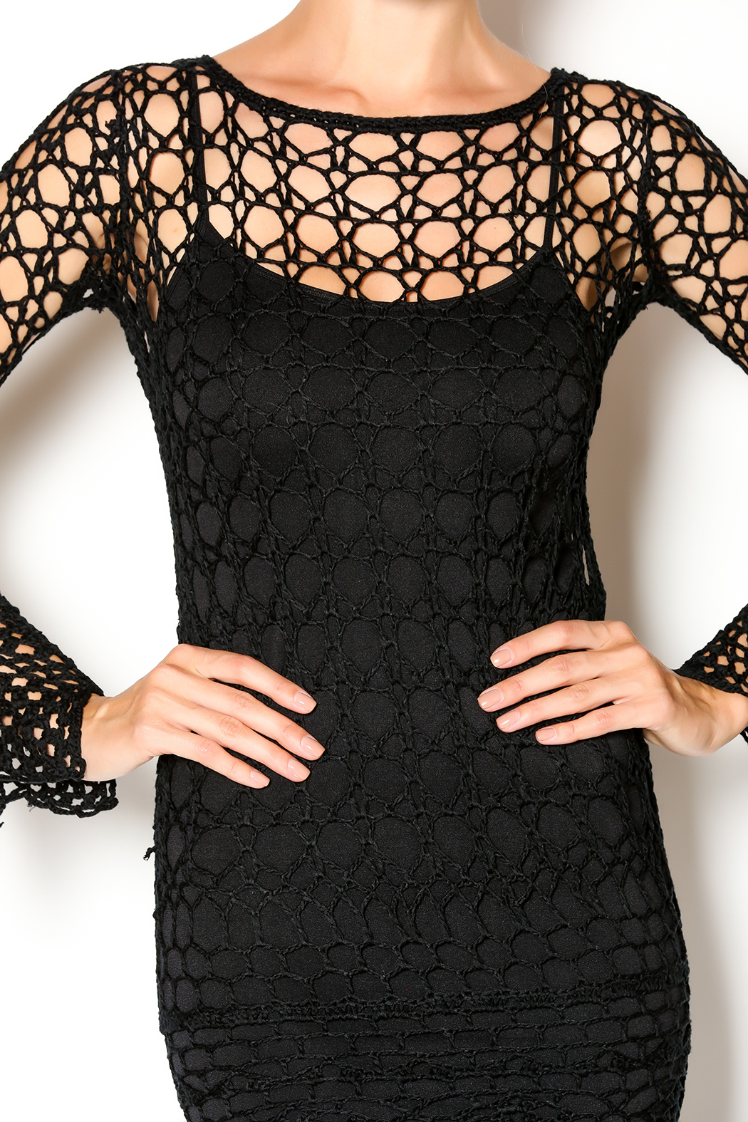 Hera Midnight Crochet Dress - Front Full Image