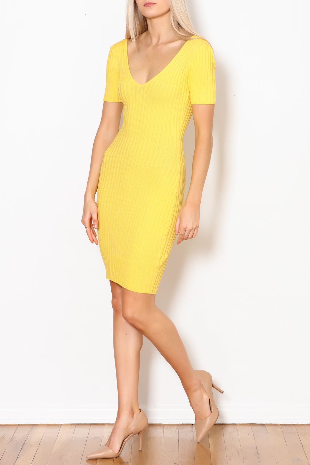 Hera Ribbed Bodycon Dress - Side Cropped Image