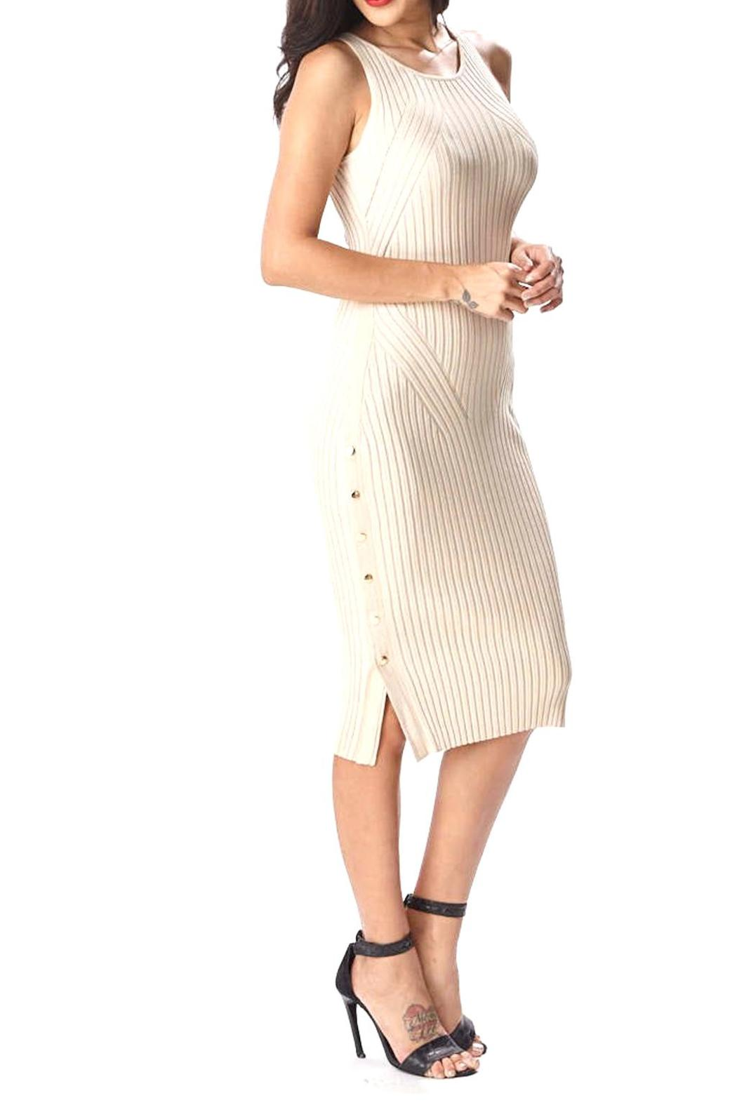 Hera Side Button Dress - Front Full Image