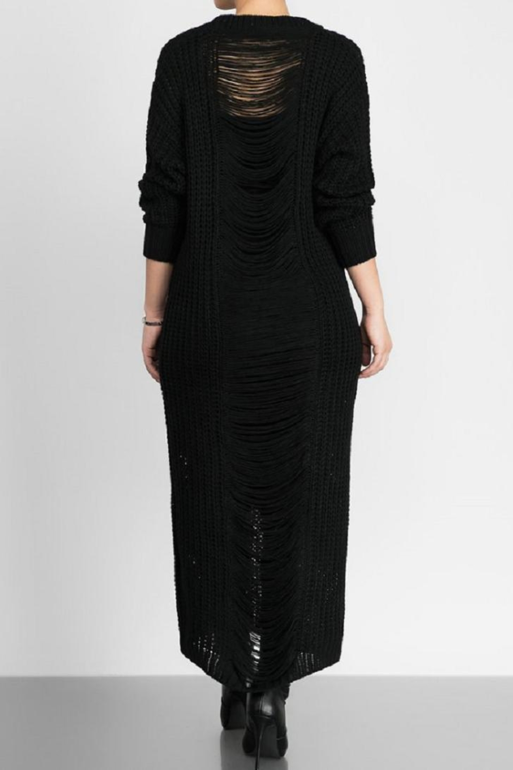 hera collection Distressed Maxi Sweater - Front Cropped Image