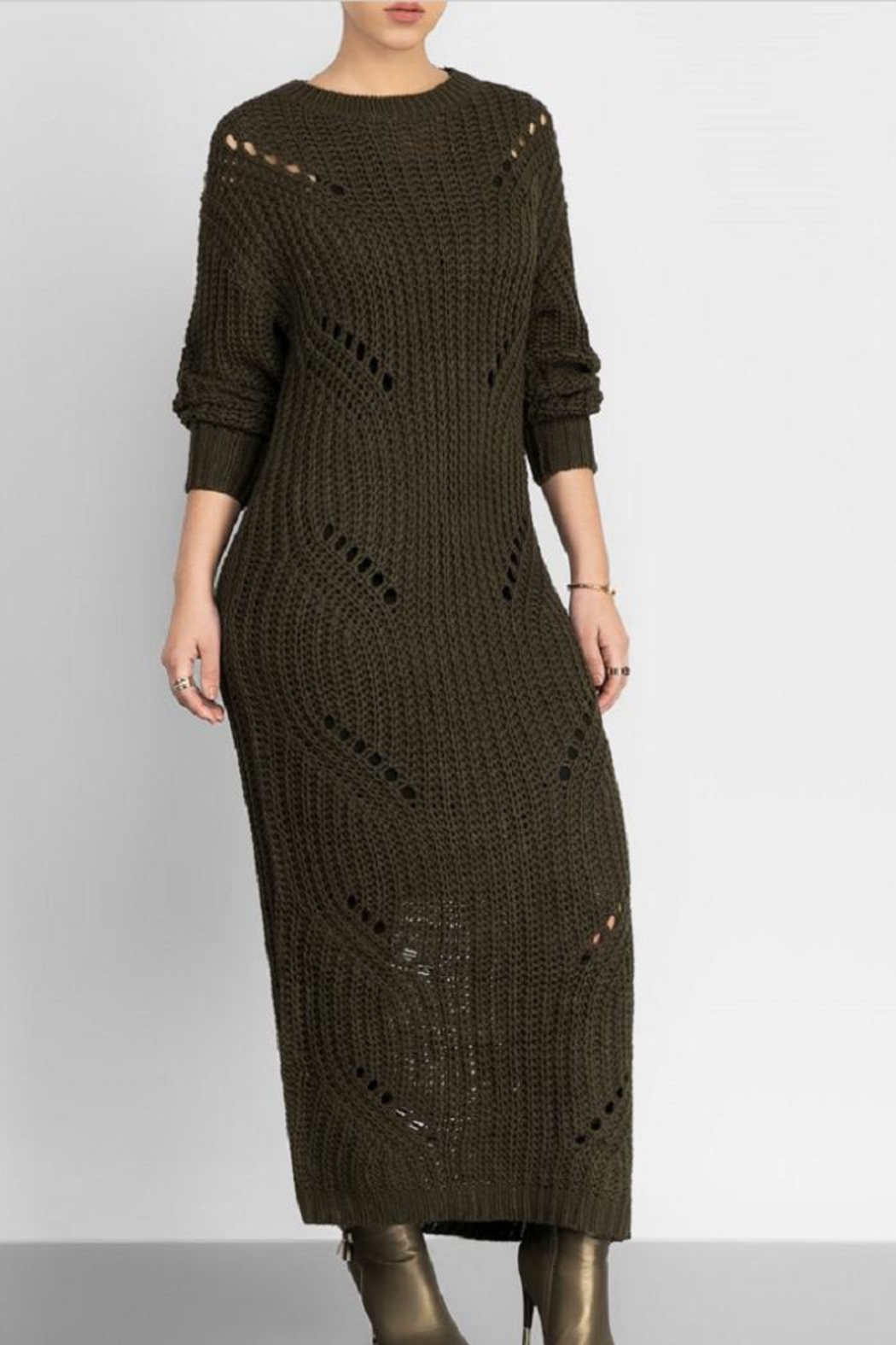 hera collection Distressed Maxi Sweater - Front Full Image