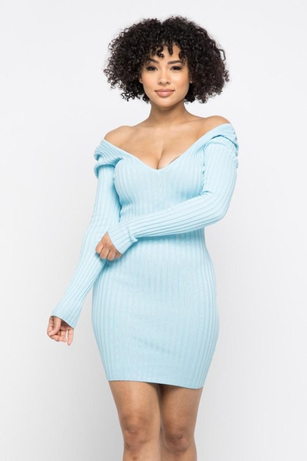 hera collection Long Sleeve V-Neck Knit Dress - Front Cropped Image