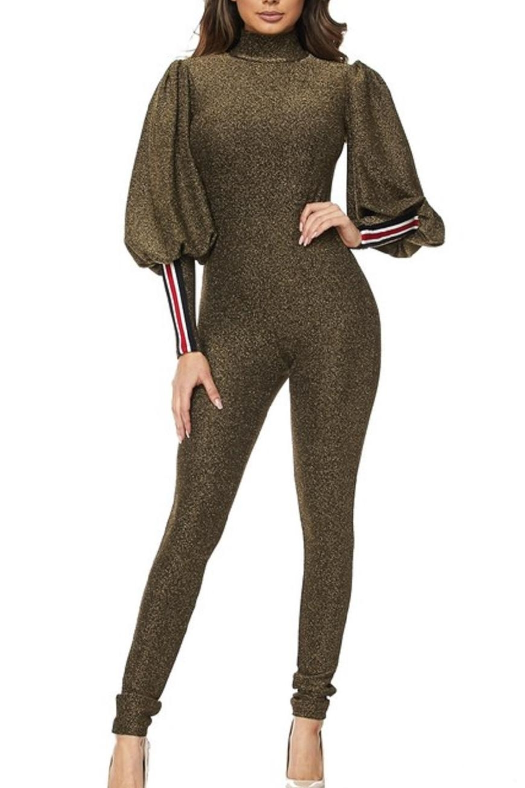 hera collection Olive Shimmer Jumpsuit - Main Image