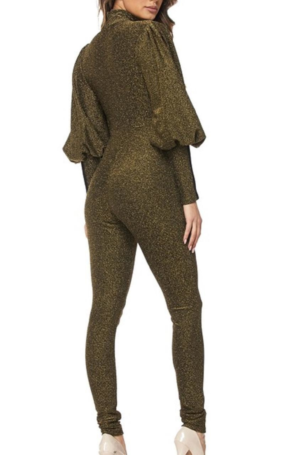 hera collection Olive Shimmer Jumpsuit - Front Full Image